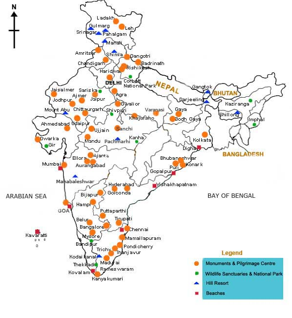 Places To Visit In Summer Vacation In South India: India Map, India Map With States